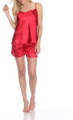 White Mark Women's Satin Cami & Shorts Pajama Set