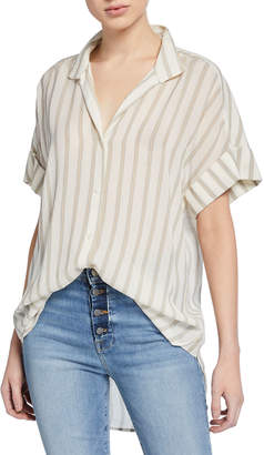 Frame Striped Clean-Collar Short-Sleeve Shirt