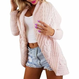 Rikay Women Sweater Plus Size 10-18 New Womens Long Sleeve Lapel Top Ladies Chunky Aran Cable Knit Grandad Cardigan Boyfriend Sweater Rikay Pink