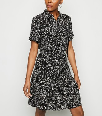 New Look Zebra Print Peplum Hem Mini Shirt Dress