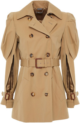 Alexander McQueen Belted Draped Cotton-twill Trench Coat