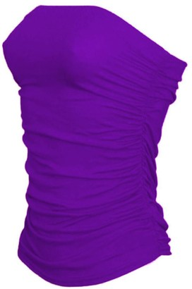janisramone TOP_BBTBE_STO_SM New Womens Boobtube Bandeau Strapless Top Ladies Side Ruched Crop Bra Vest Top