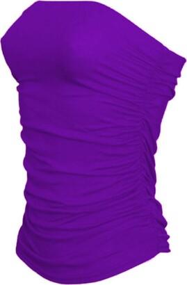 Zeetaq Women's Ladies Plain Strapless Sleeveless Ruched Boob Tube Bandeau Vest Top UK Plus Size 8-26 Turq