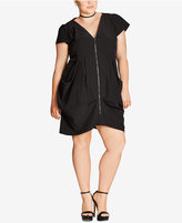 City Chic Petite Plus Size Draped Tunic Dress