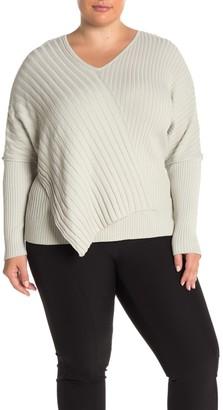 Lafayette 148 New York Long Dolman Sleeve V-Neck Ribbed Sweater (Plus Size)
