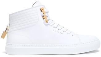 Buscemi Gold Tone-trimmed Appliqued Leather Sneakers