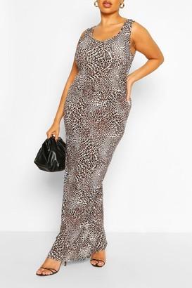 boohoo Plus Leopard Scoop Neck Jersey Maxi Dress