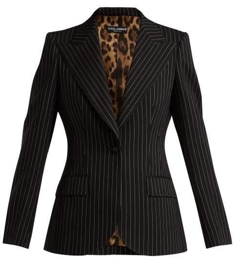 Dolce & Gabbana Single Breasted Pinstripe Wool Blazer - Womens - Navy White