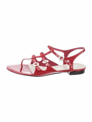 Chanel Patent Leather Gladiator Sandals Red