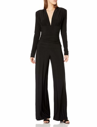 Norma Kamali Women's V Neck L/S Shirred Waist Jumpsuit W/Shoulder Pads
