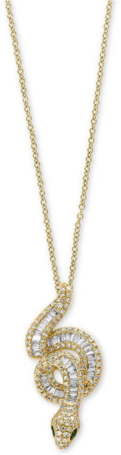 "Effy Safari by Diamond (3/4 ct. t.w.) & Tsavorite Accent Snake 18"" Pendant Necklace in 14k Gold"