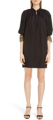Givenchy Split Neck Lace Detail Poplin Shift Dress