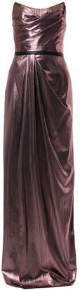 Marchesa Notte Metalzied Strapless Gown