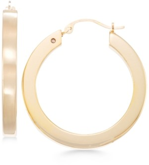 Signature Gold Square Tube Hoop Earrings in 14k Gold over Resin
