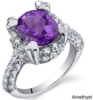Oravo Sterling Silver Oval Gemstone and Cubic Zirconia Halo Ring