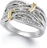Macy's Diamond Multi-Row Ring in 14k Gold and Sterling Silver (1/4 ct. t.w.)