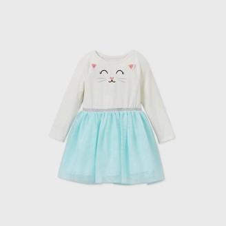 Cat & Jack Toddler Girls' Kitty Tulle Long Sleeve Dress - Cat & JackTM