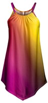 Lily Women's Tunics YLW - Yellow & Purple Point-Hem Sleeveless Tunic - Women & Plus