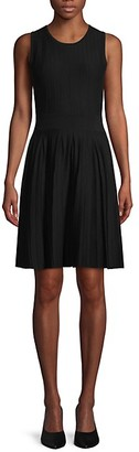 Saks Fifth Avenue Pleated Knit Fit--Flare Dress