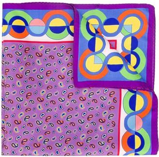 Etro Contrast Print Silk Pocket Square