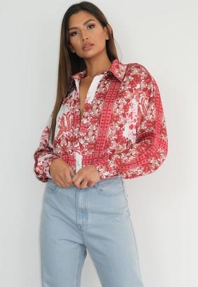 Missguided Petite Red Porcelain Print Satin Shirt