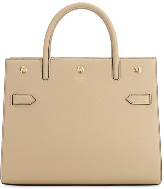 Burberry Md Title Grained Leather Top Handle Bag