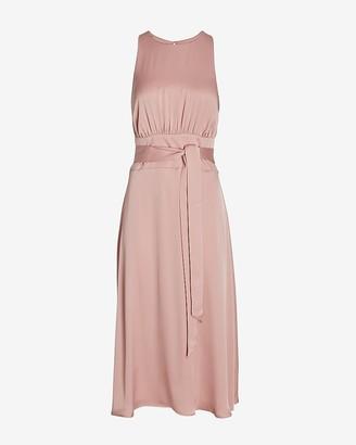 Express Satin Belted High Neck Midi Dress