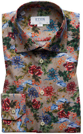 Eton Men's Slim-Fit Floral-Print Dress Shirt