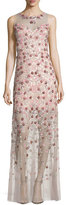 Elie Tahari Sleeveless Embellished Floral Georgette Column Gown, Pink