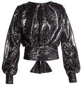 MSGM Leopard-pattern Sequin Blouse - Womens - Black Silver