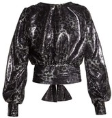 MSGM Leopard-pattern Sequin Blouse - Womens - Black Silver