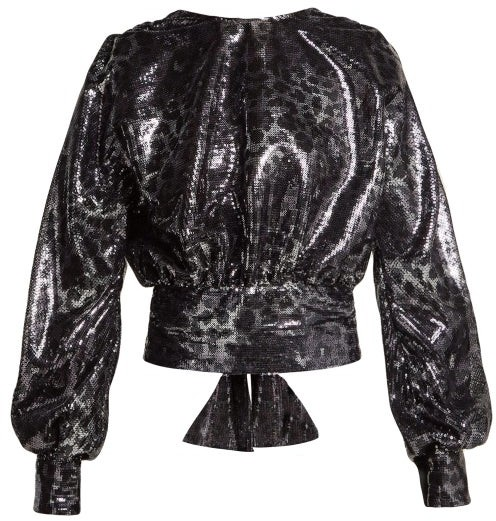 MSGM Leopard Pattern Sequin Blouse - Womens - Black Silver