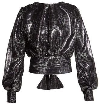 MSGM Leopard-pattern Sequin Blouse - Black Silver