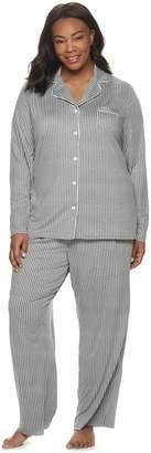 Croft & Barrow Women's Plus Size Long Sleeve Printed Pajama Set