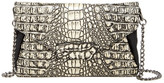 Sondra Roberts Croc Embossed Leather & Genuine Calf Hair Clutch