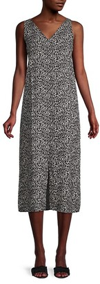 Pure Navy Printed Linen Midi Dress