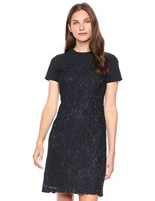 Lark & Ro Short Sleeve Lace Mixed Dress2