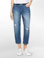 Calvin Klein Boyfriend Fit Distressed Ankle Jeans