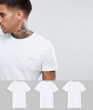 Diesel 3 pack regular fit logo lounge t-shirts in white