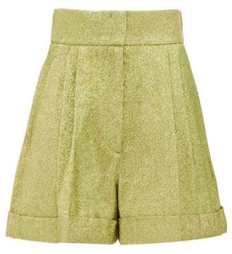Francoise - High-rise Pleated Metallic Shorts - Green