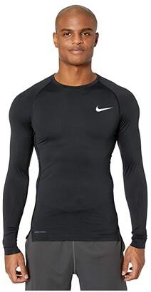 Nike Top Long Sleeve Tight (Black/White) Men's Clothing
