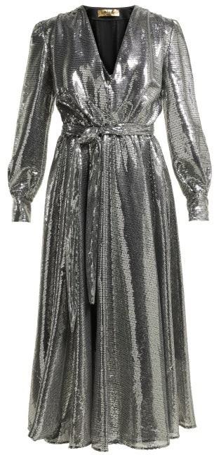 MSGM Sequinned Midi Dress - Womens - Silver