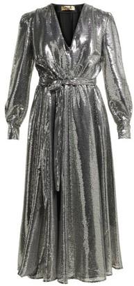 MSGM Sequinned Midi Dress - Silver