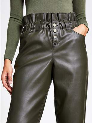 River Island Faux Leather Paperbag Button Trousers- Khaki