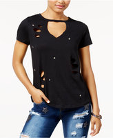 PRETTY REBELLIOUS Rebellious One Juniors' Cutout Studded Star T-Shirt