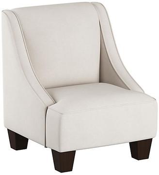 One Kings Lane Fletcher Kids' Accent Chair - Talc Linen - frame, espresso; upholstery, talc
