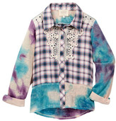 Hannah Banana Mixed Media Plaid Shirt With Lace Applique (Big Girls)