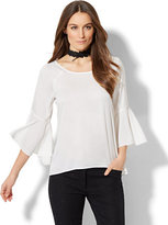 New York & Co. 7th Avenue - Bell-Sleeve Blouse - White