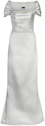 Catherine Regehr Off-The-Shoulder Metallic Duchess Satin Gown