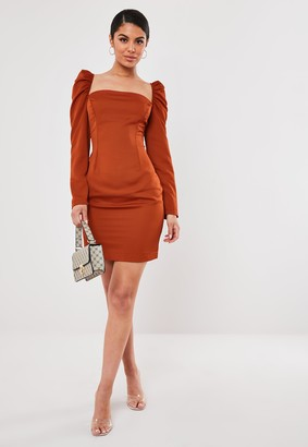 Missguided Petite Rust Milkmaid Mini Dress